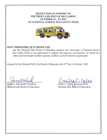 OFSB proclamation safety school bus week