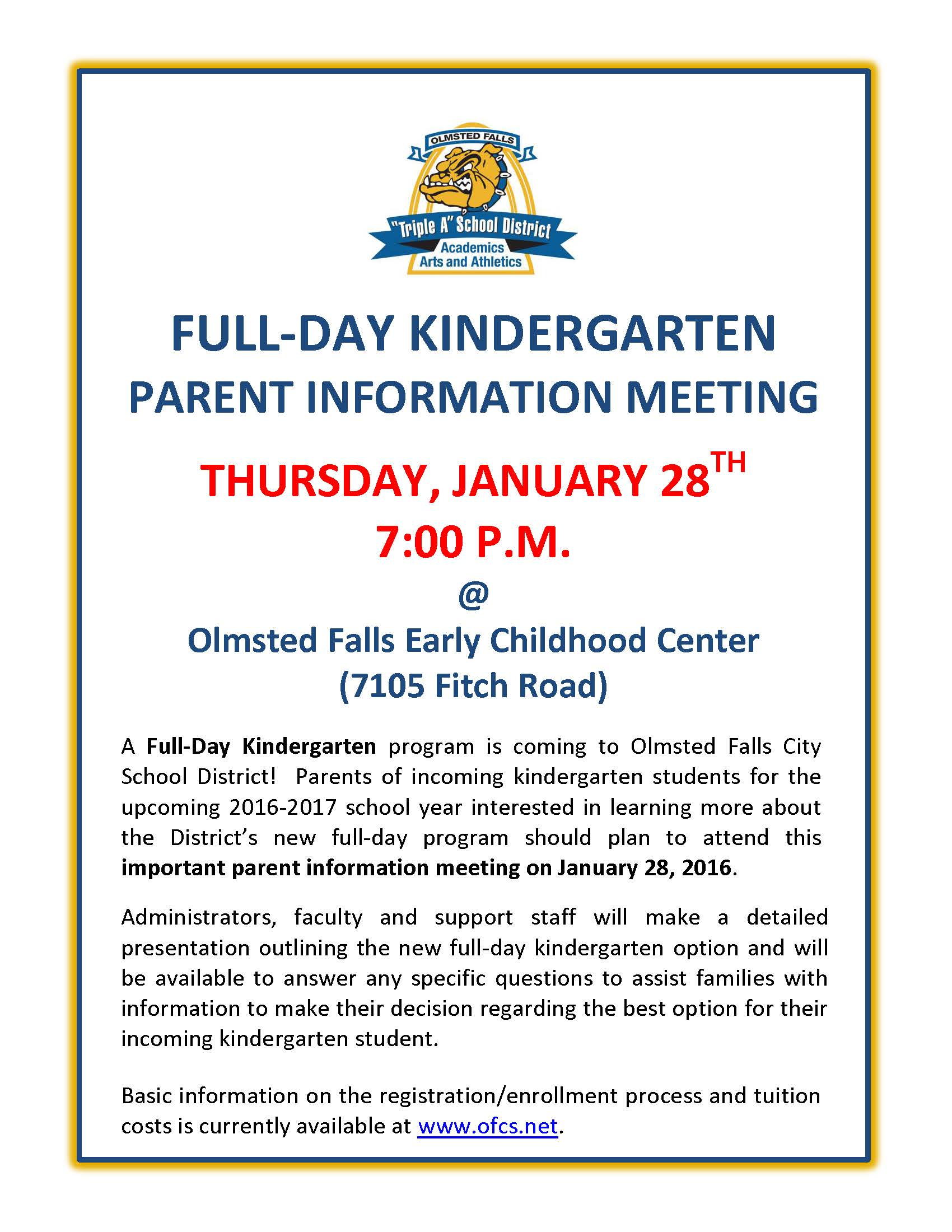 Ofcs update january 26 2016 olmsted falls schools for Parent flyer templates