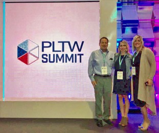 Ms. Wisniewski with OFMS Principal Mark Kurz and OFCS Assistant Superintendent Kelli Cogan at the PLTW Summit in Anahiem, CA.