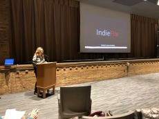 "Picture of PTA Council member Heather Hetchler welcomes guests to film screening of IndieFlix documentary ""Like"" at OFHS Auditorium March 6th."