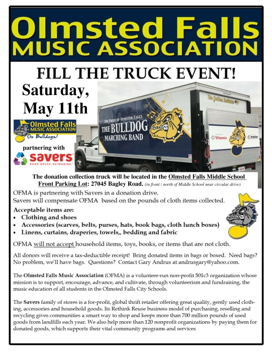 OFMA's May 2019-FILL THE TRUCK event BLOG pdf | Olmsted Falls